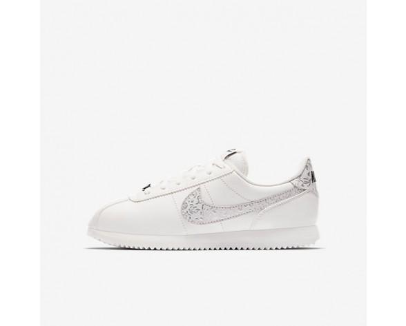 Nike Cortez Basic Leather Damen Summit Weiß/Schwarz/Metallic Silber AA3043-100