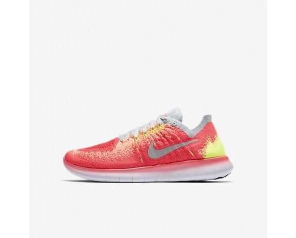 Nike Free RN Flyknit 2017 Damen Laufschuhe Hot Punch/Volt/Reines Platin/Weiß 881974-600