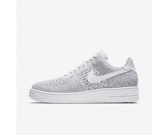 Nike Air Force 1 Flyknit Low Herren Schuhe Kaltes Grau/Weiß/Weiß 817419-006