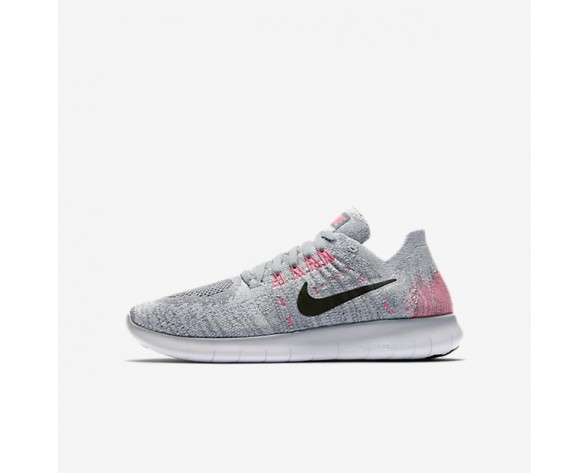Nike Free RN Flyknit 2017 Damen Laufschuhe Wolf grau/Reines Platin/Kaltes Grau/Schwarz 881974-001