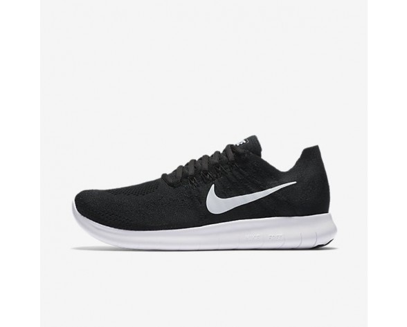 Nike Free RN 2017 Flyknit Damen Laufschuhe Schwarz/Schwarz/Dunkelgrau/Weiß 880844-001