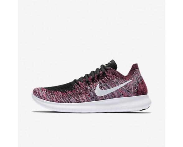 Nike Free RN 2017 Flyknit Damen Laufschuhe Schwarz/Racer Rosa/Gamma Blau/Weiß 880844-006