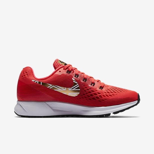 check out 9bc4a d7b6b Nike Air Zoom Pegasus 34 Mo Farah Damen Laufschuhe Bright  CrimsonSchwarzUniversity RotMetallic Gold AA3776-607