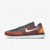 Nike Free RN Flyknit 2017 Herren Laufschuhe Blau Fox/Total Crimson/Total Orange/Weiß 880843-401