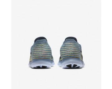 Nike Free RN Flyknit Damen Laufschuhe Ocean Fog/Bright Mango/Polarised Blau/Schwarz 831070-405